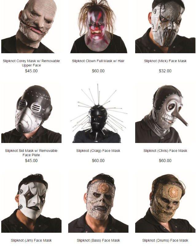 Maski Slipknot w sprzedaży