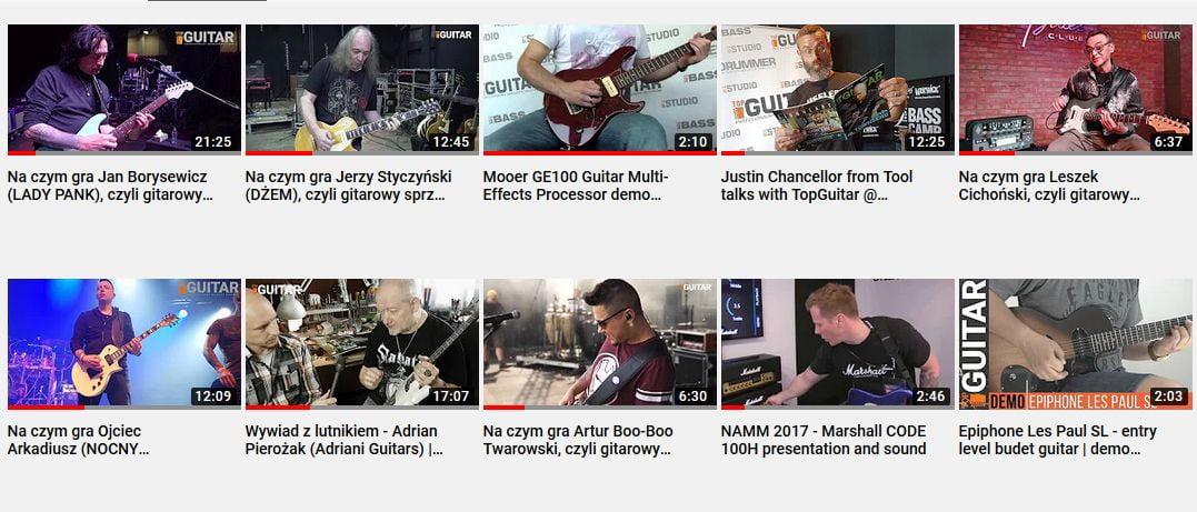 Dziesięć najpopularniejszych filmików TopGuitar na kanale YouTube